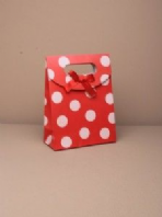 Red spotty velcro topped gift bag (Code 3107)